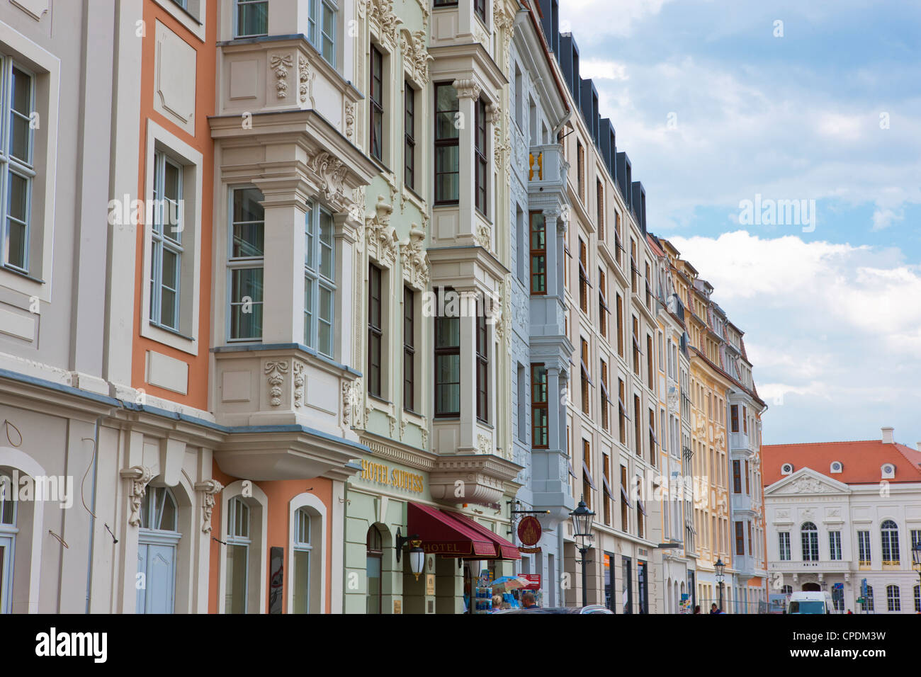 Close up of old Dresden houses, Dresden, Saxony, Germany, Europe - Stock Image