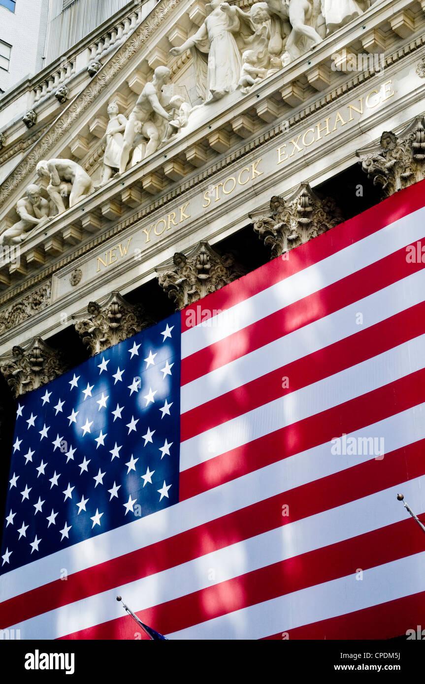 New York Stock Exchange building, Wall Street, USA - Stock Image