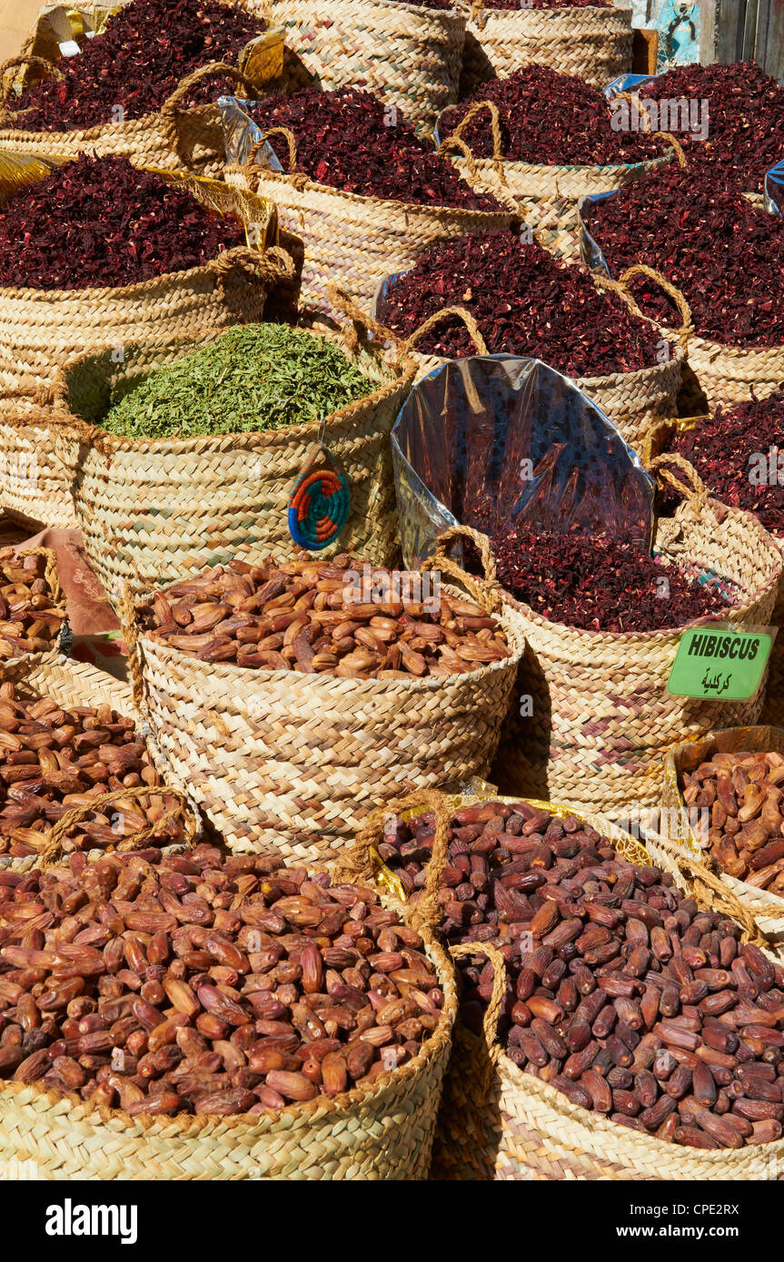 Spices and dates for sale in the market or souk of Aswan, Egypt, North Africa, Africa - Stock Image