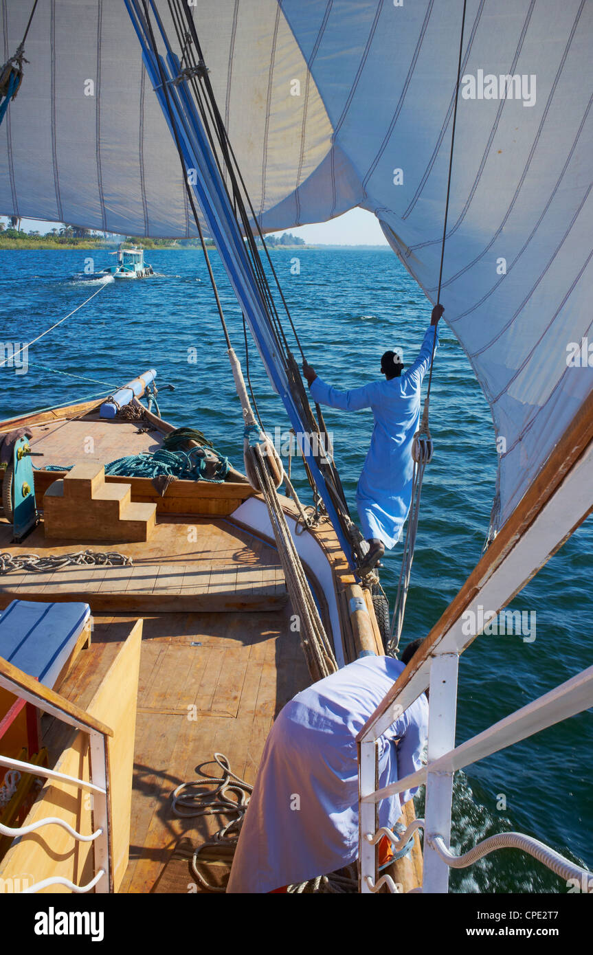Cruise on the River Nile between Luxor and Aswan with Dahabieh type of boat, the Lazuli, Egypt, North Africa, Africa - Stock Image