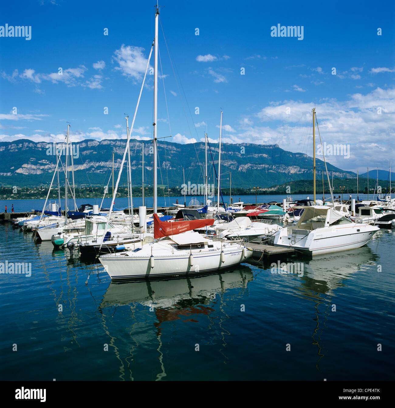 Marina on Lac Du Bourget, Aix les Bains, Rhone Alpes, France, Europe - Stock Image