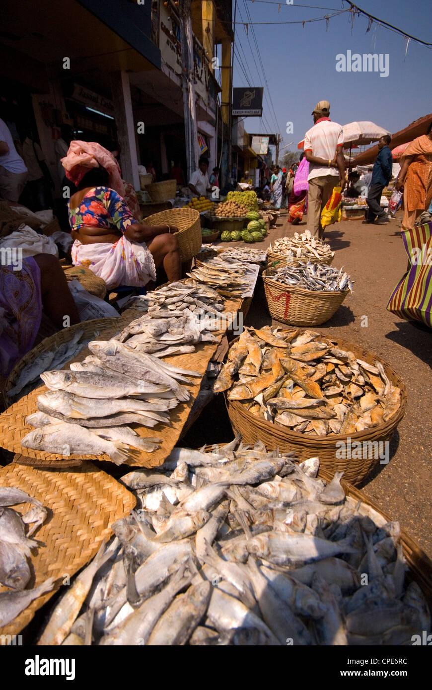 Fish stall, Mapusa Market, Goa, India, Asia - Stock Image