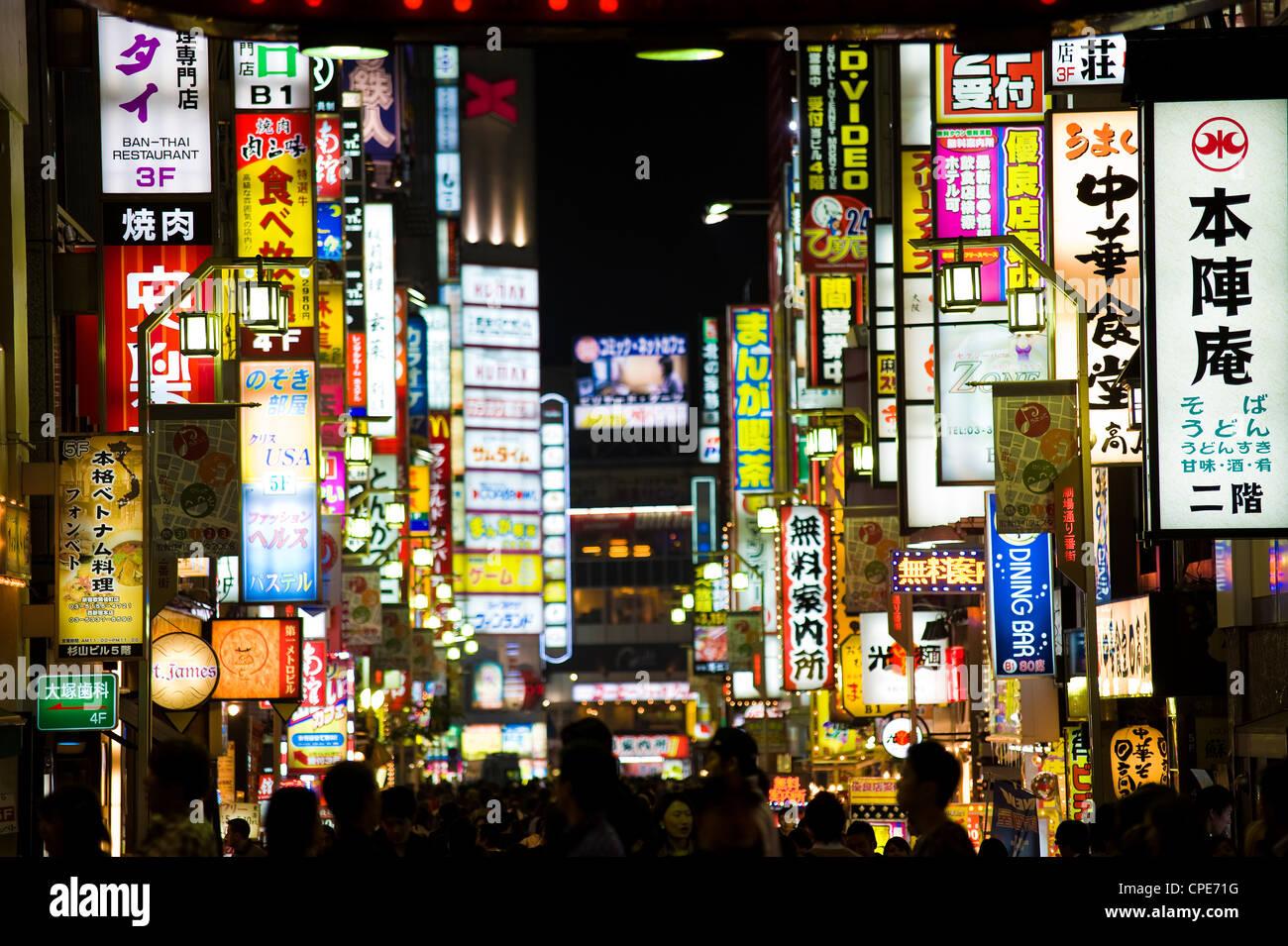 Neon signs, Kabukicho, Shinjuku, Tokyo, Japan, Asia - Stock Image
