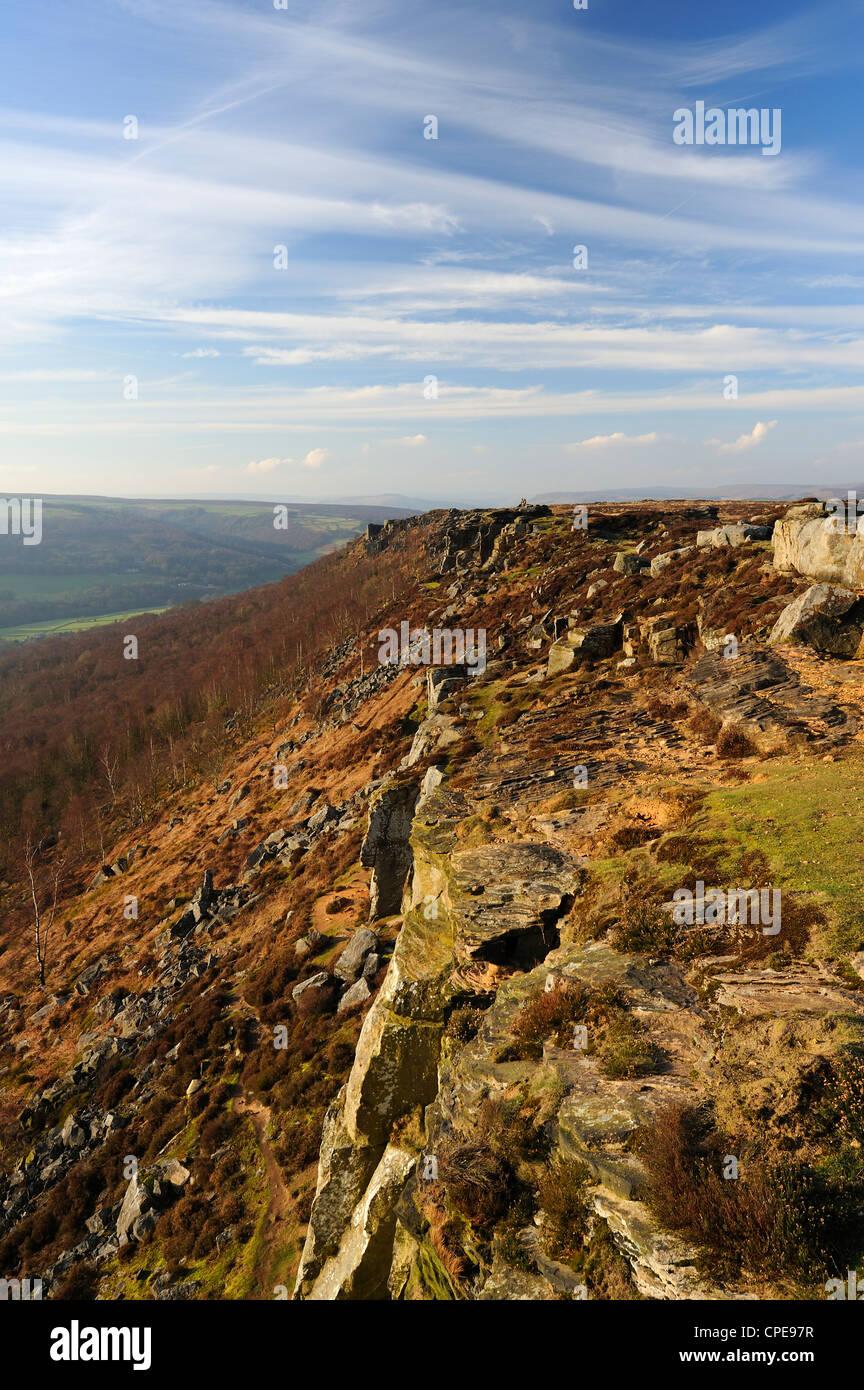 Froggatt and Curbar Edge, Peak District National Park, Derbyshire, England, United Kingdom, Europe - Stock Image