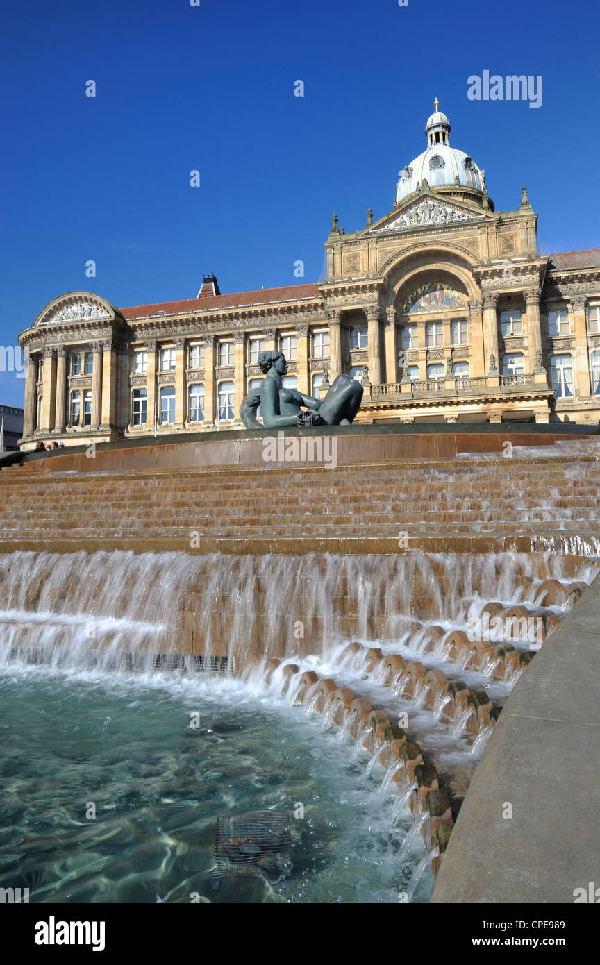 Fountain known as the Floozy in the Jacuzzi and the Council House, Victoria Square, Birmingham, West Midlands, England, - Stock Image