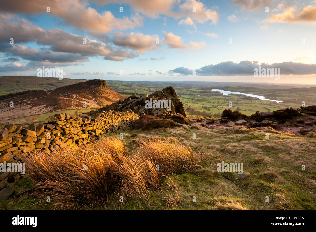 Sunset at The Roaches including Tittesworth Reservoir, Staffordshire Moorlands, Peak District National Park, England, - Stock Image