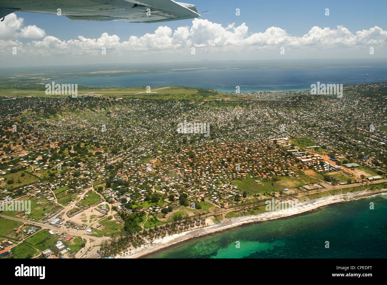 Aerial view of Pemba in northern Mozambique. - Stock Image