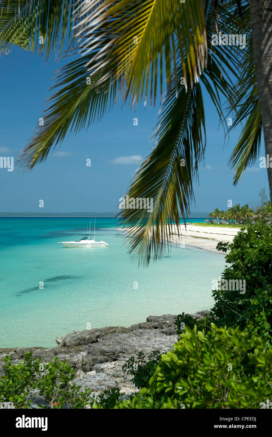 View of the beach and sea at Matemo lodge in the Quirimbas archipelago in Mozambique. - Stock Image