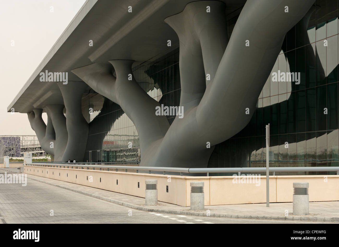 Qatar National Convention Centre, QNCC, with a spectacular facade resembling two intertwined Sidra trees, Doha, - Stock Image