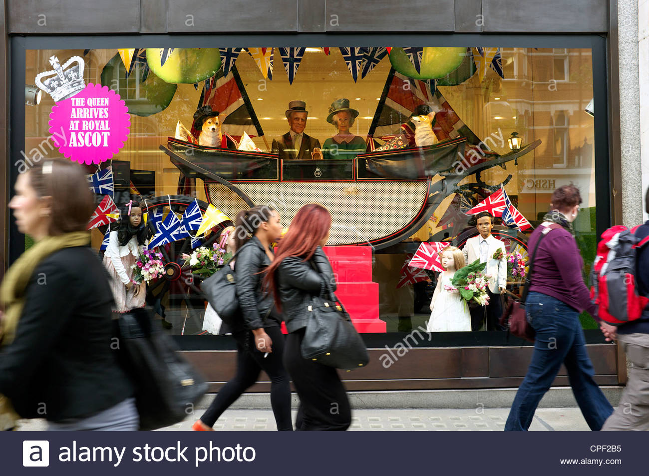 'The Queen Arrives at Ascot' shop window display in the Selfridges store, Oxford Street, London, May 2012. Stock Photo