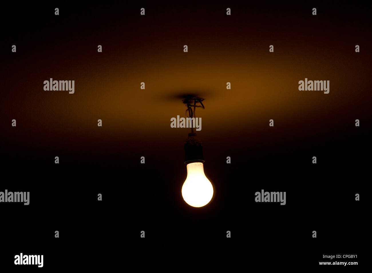 Bare light bulb hanging from the ceiling stock photo 48303781 alamy bare light bulb hanging from the ceiling aloadofball Image collections