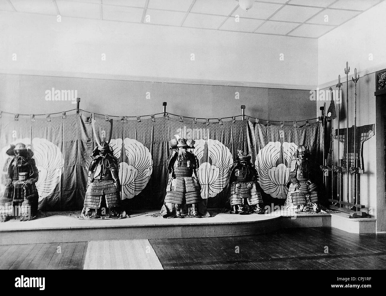 Samurai armor in an exhibition of the Berlin Museum of Arts and Crafts, 1937 - Stock Image