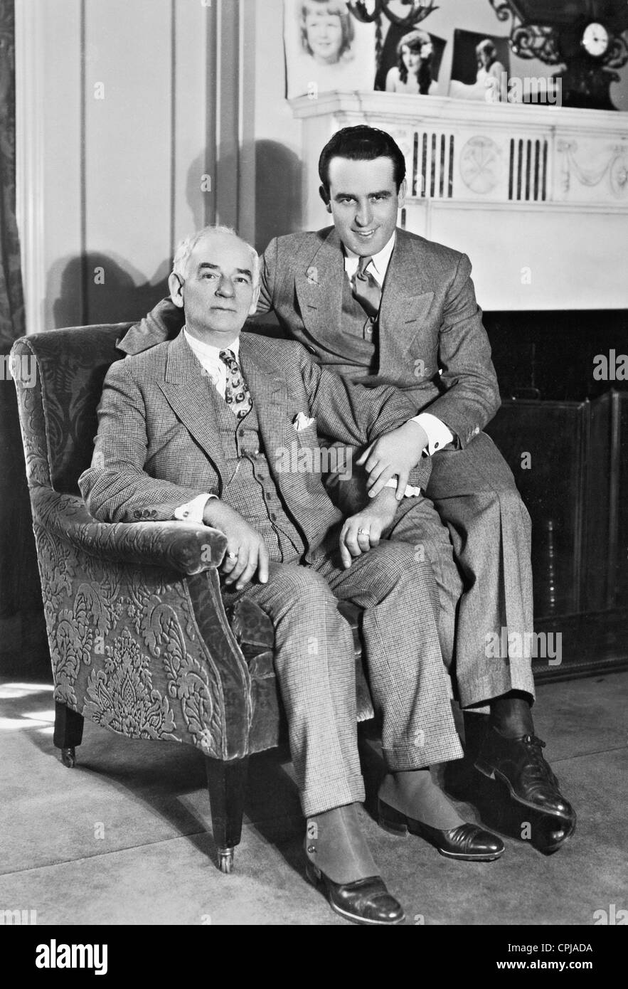 Harold Lloyd and his father - Stock Image