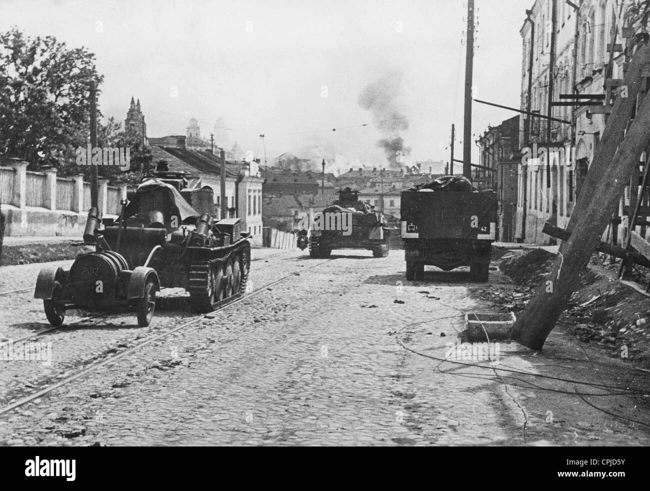 Wehrmacht convoy in Minsk, 1941 Stock Photo