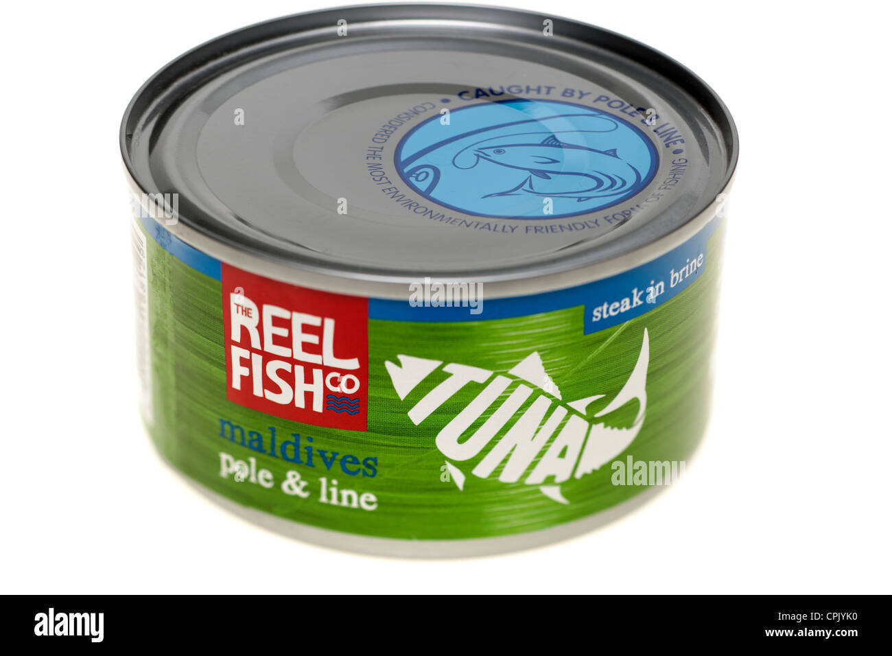A tin of The reel fish co environmentally friendly pole and line caught tuna steak from the Maldives - Stock Image