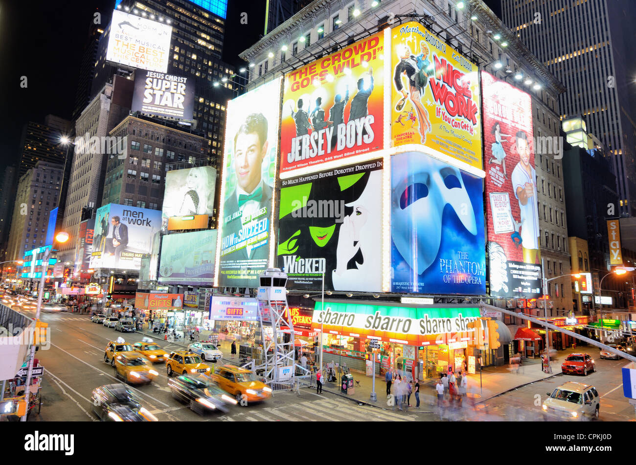 TImes Square theater billboards along Broadway in New York City. - Stock Image