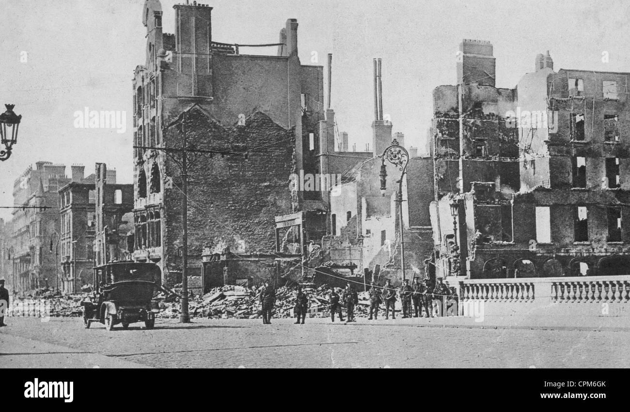 Destroyed houses in Dublin, 1916 - Stock Image