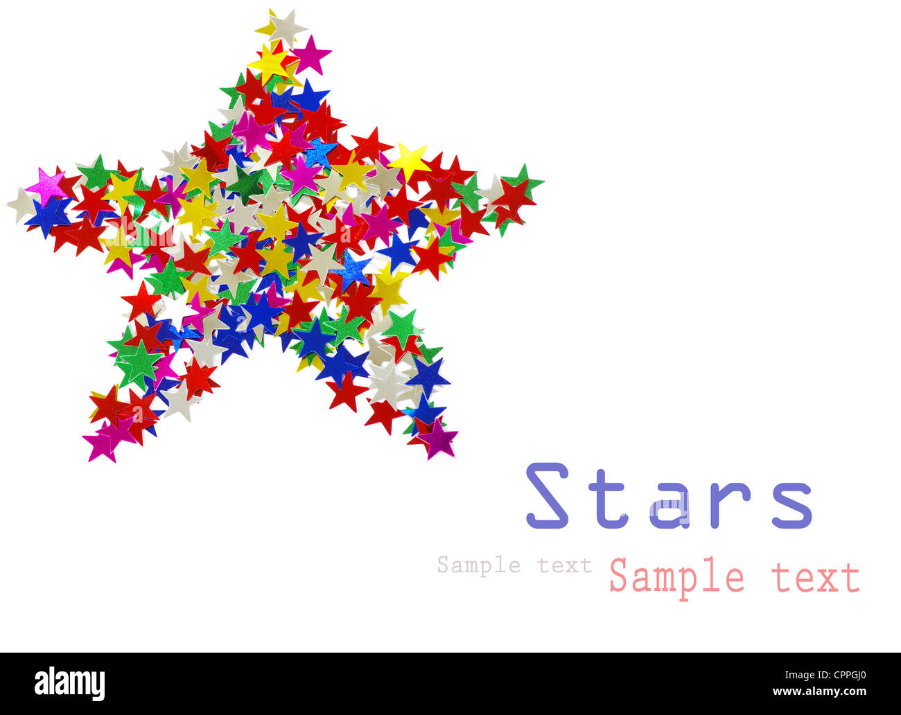 Big star composed of many colored stars on white - Stock Image