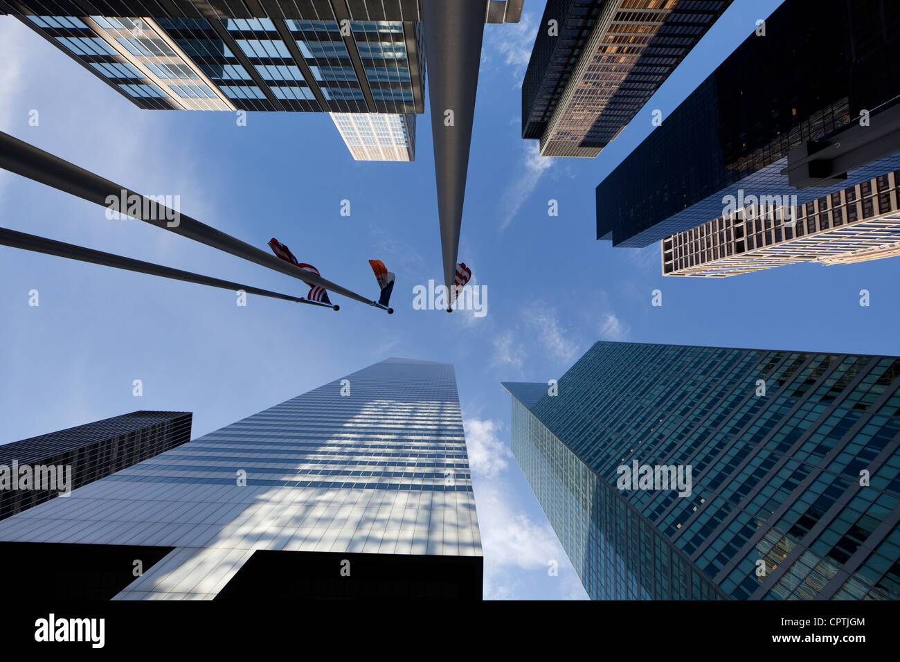 Looking up at skyscrapers in Midtown Manhattan, New York City - Stock Image