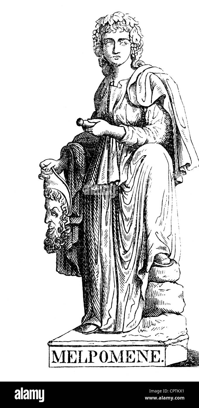 Muses, protectresses of the fine arts in of the Greek mythology, Melpomene, muse of the tragedy, wood engraving, - Stock Image