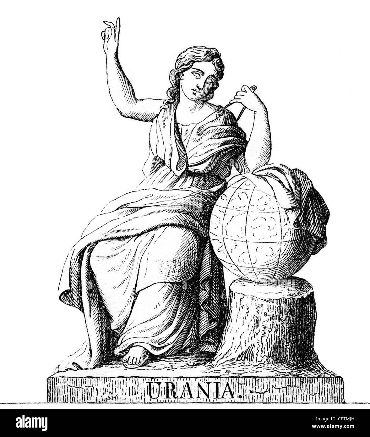 muse, protectresses of the fine arts in the Greek mythology, Urania, Muse of the astronomy, wood engraving, 19th - Stock Image