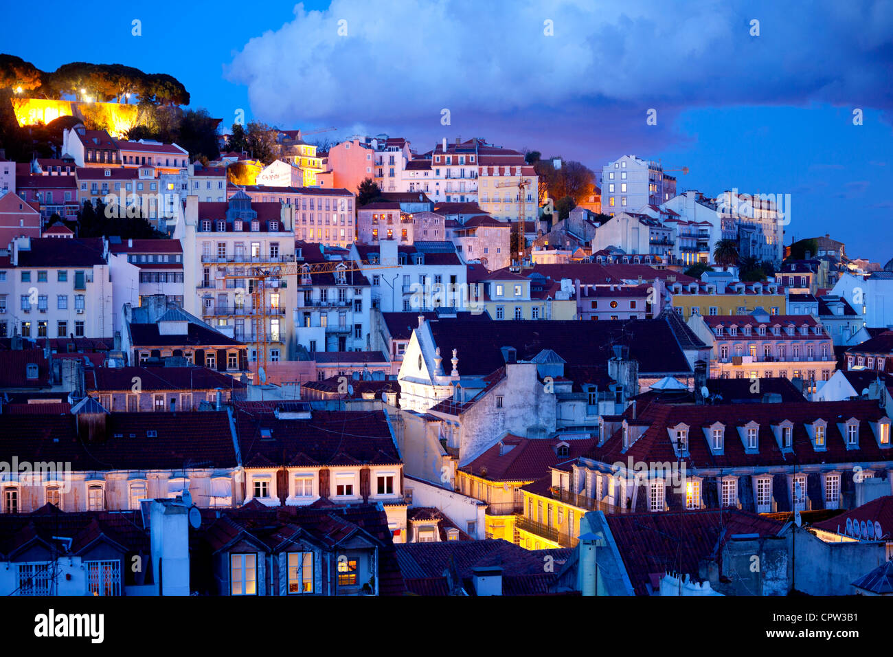 Saint George's Castle and a panorama of Lisbon, Portugal - Stock Image