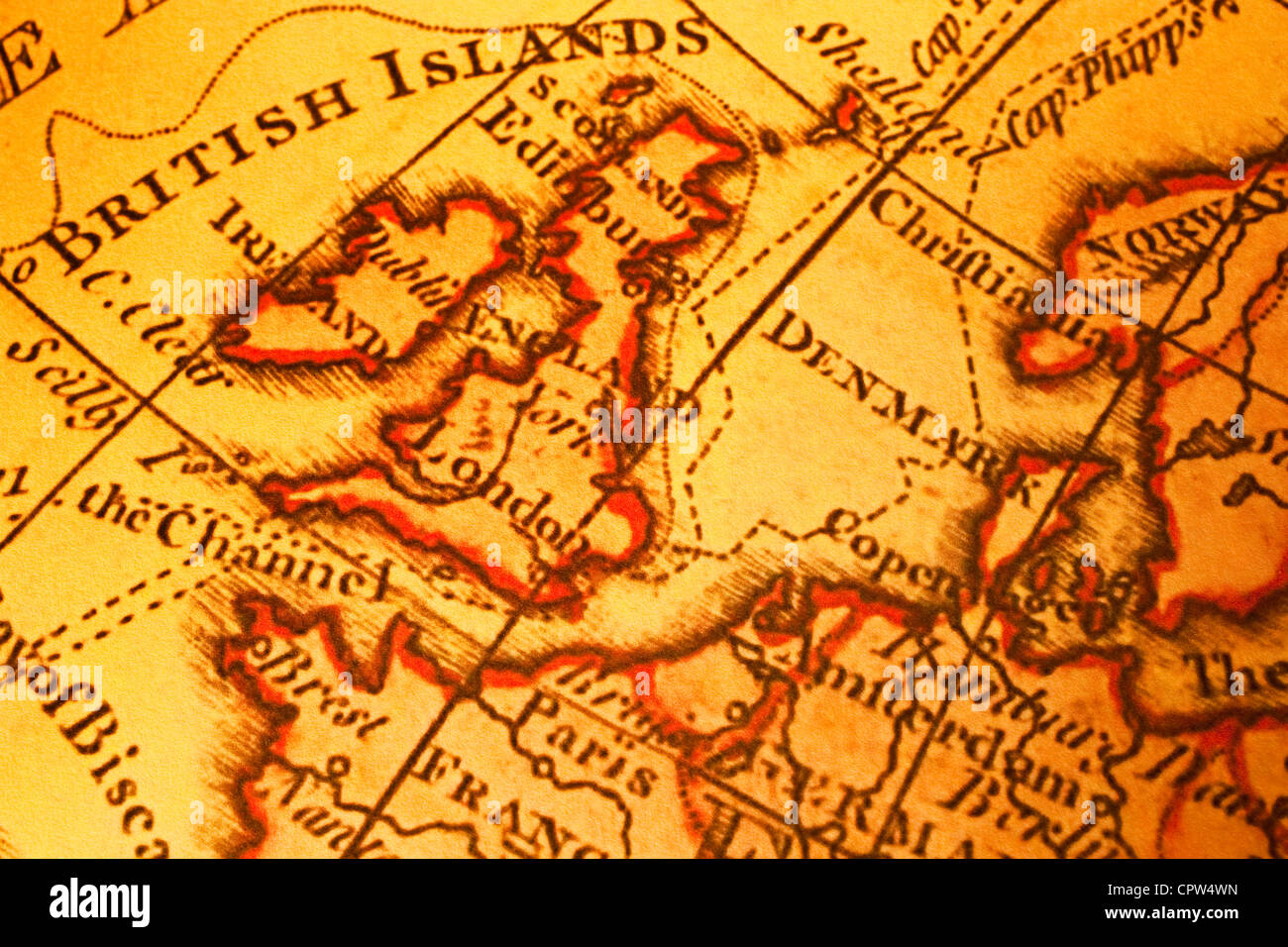 Old map uk stock photos old map uk stock images alamy old map of britain british isles uk united kngdom and northern europe map is from gumiabroncs Gallery