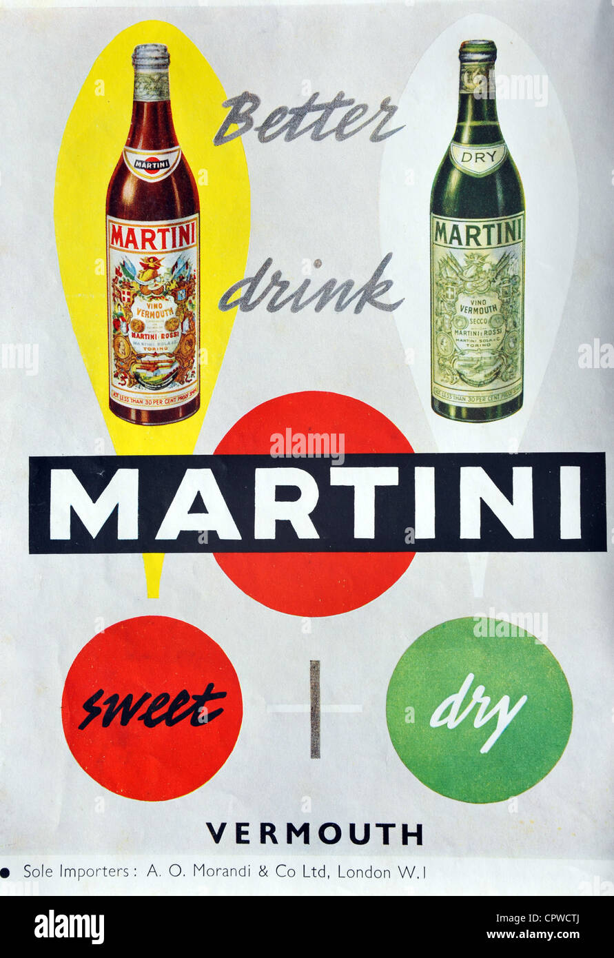 Martini drinks advert from 1953. Britain. - Stock Image