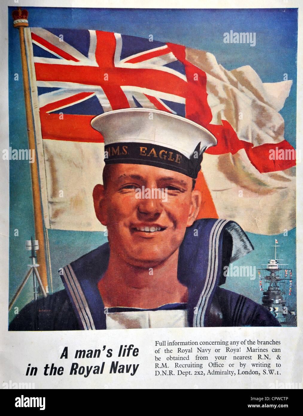 Royal Navy recruitment advert from 1953. Britain. - Stock Image