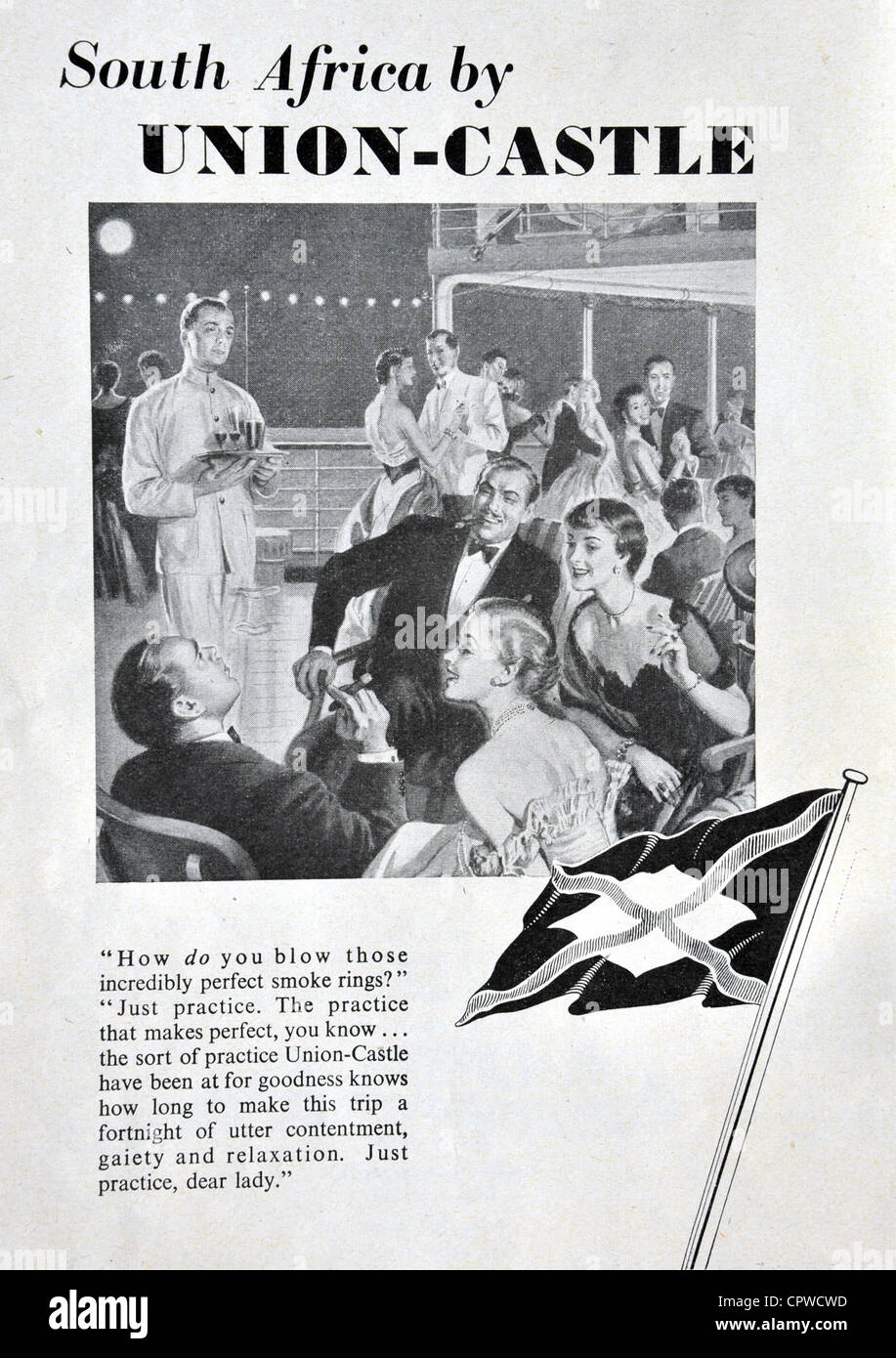Advert for Union Castle shipping line 1953. Britain - Stock Image