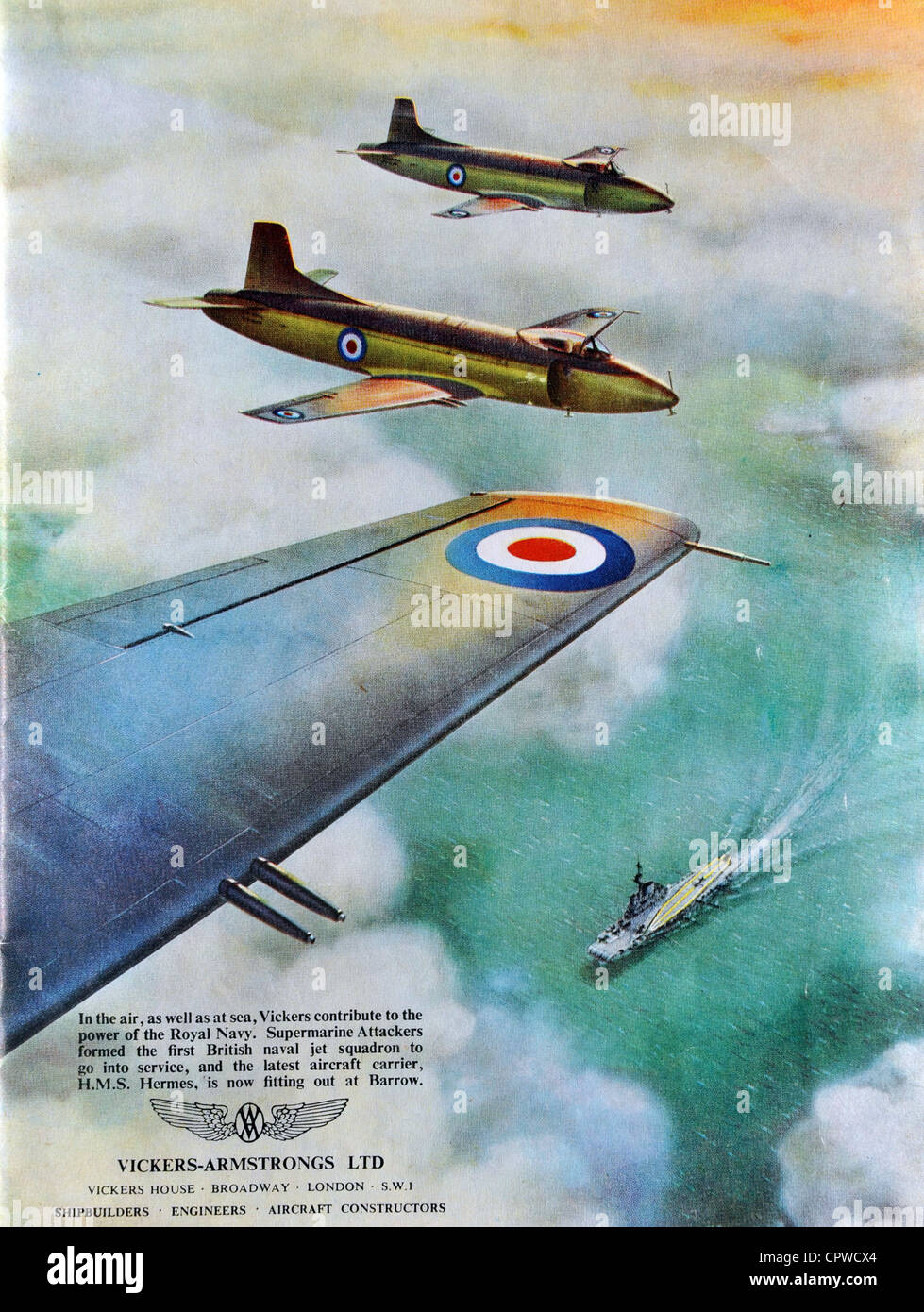 Advert by Vickers Armstrong in the Coronation Naval Fleet Review programme 1953. Britain. - Stock Image
