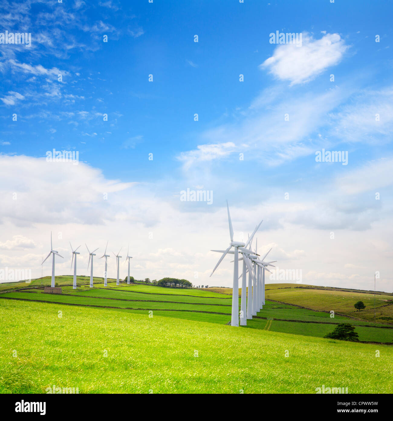 Double row of wind turbines at Royd Moor wind farm, Penistone, Yorkshire. - Stock Image