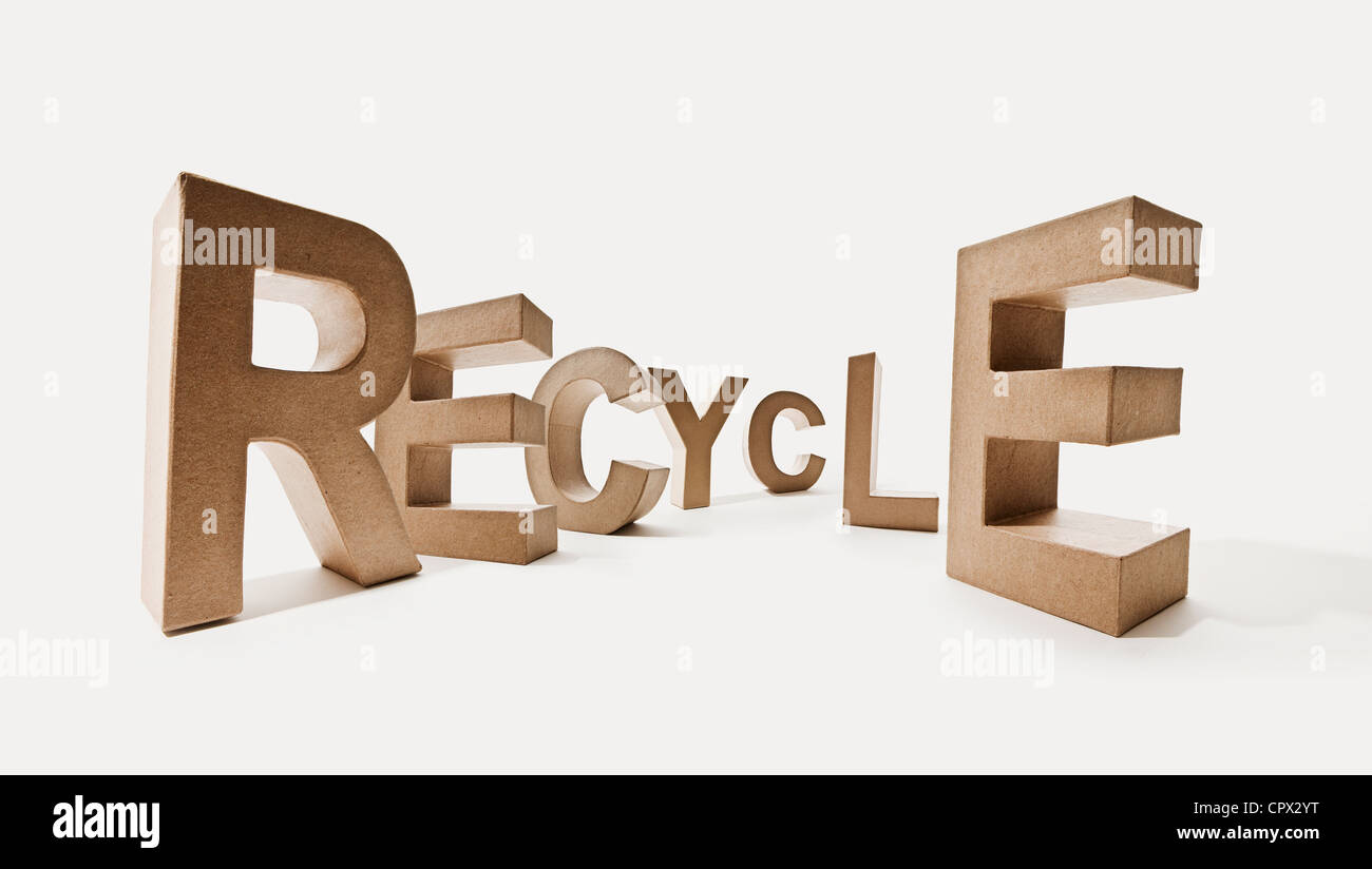 Letters spelling the word recycle - Stock Image