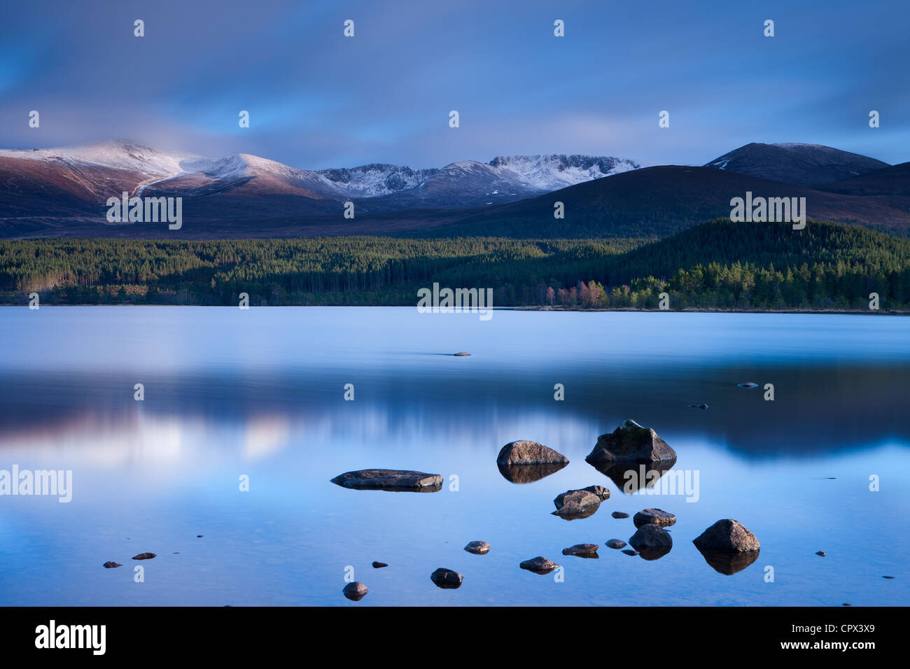 Loch Morlich & the Cairngorm Mountains, Cairngorms National Park, Badenoch and Strathspey, Scotland - Stock Image