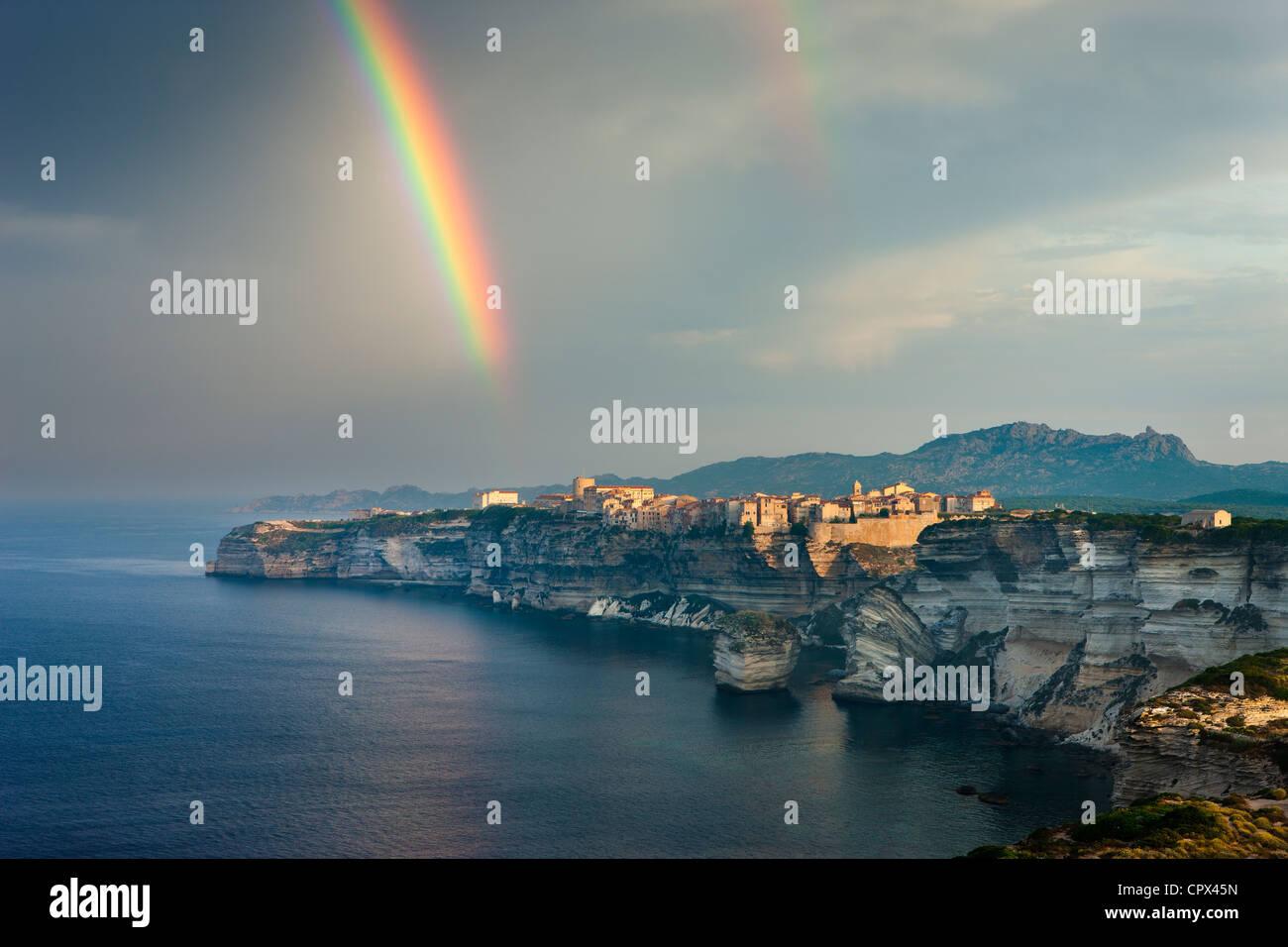 a rainbow over Bonifacio, Corsica, France - Stock Image