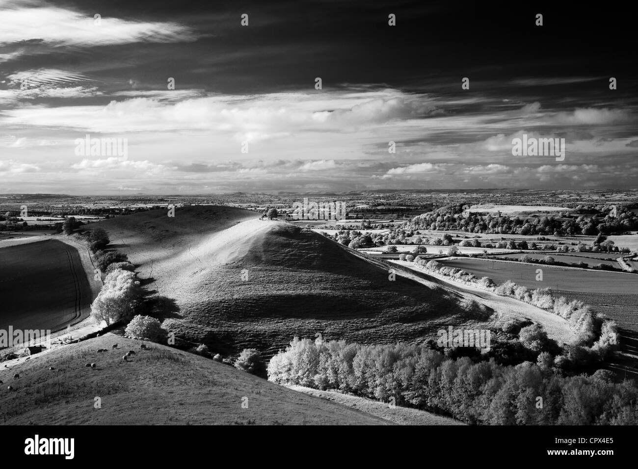 Parrock Hill & Cadbury Castle with Glastonbury Tor in the distance, from Corton Hill, Somerset, England - Stock Image