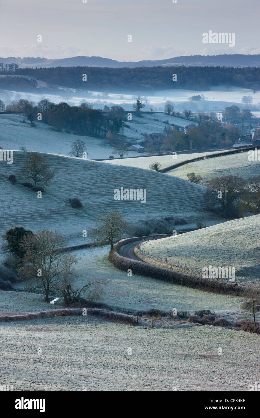 Oborne in the early morning frost, Dorset, England, UK - Stock Image