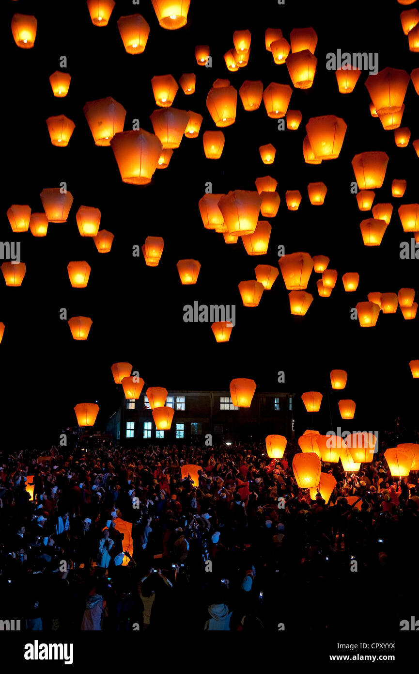 Taiwan, Taipei District, Shifen, Lantern festival - Stock Image