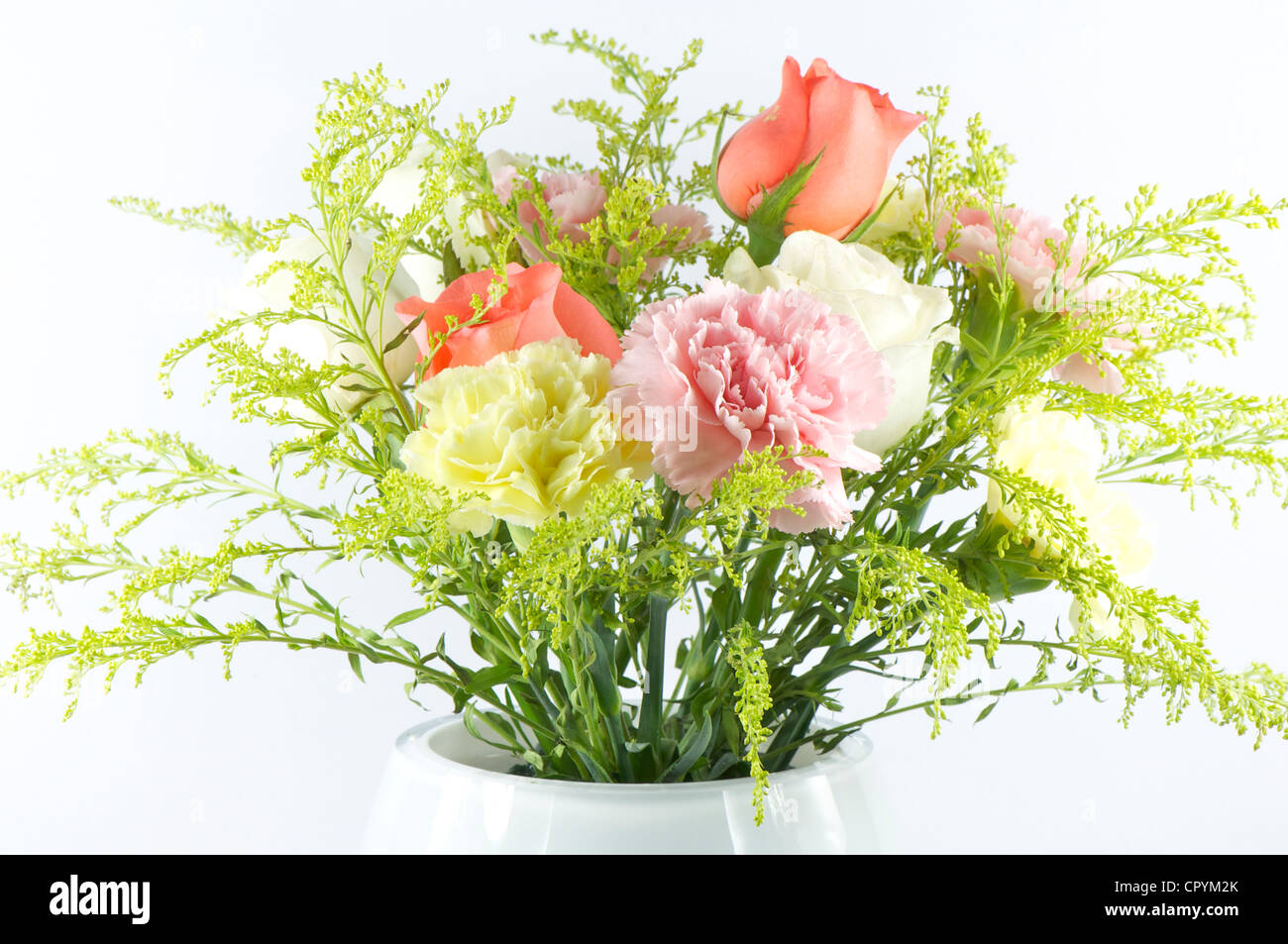 Flower Bouquet With Roses Carnations And Gypsophila Paniculata