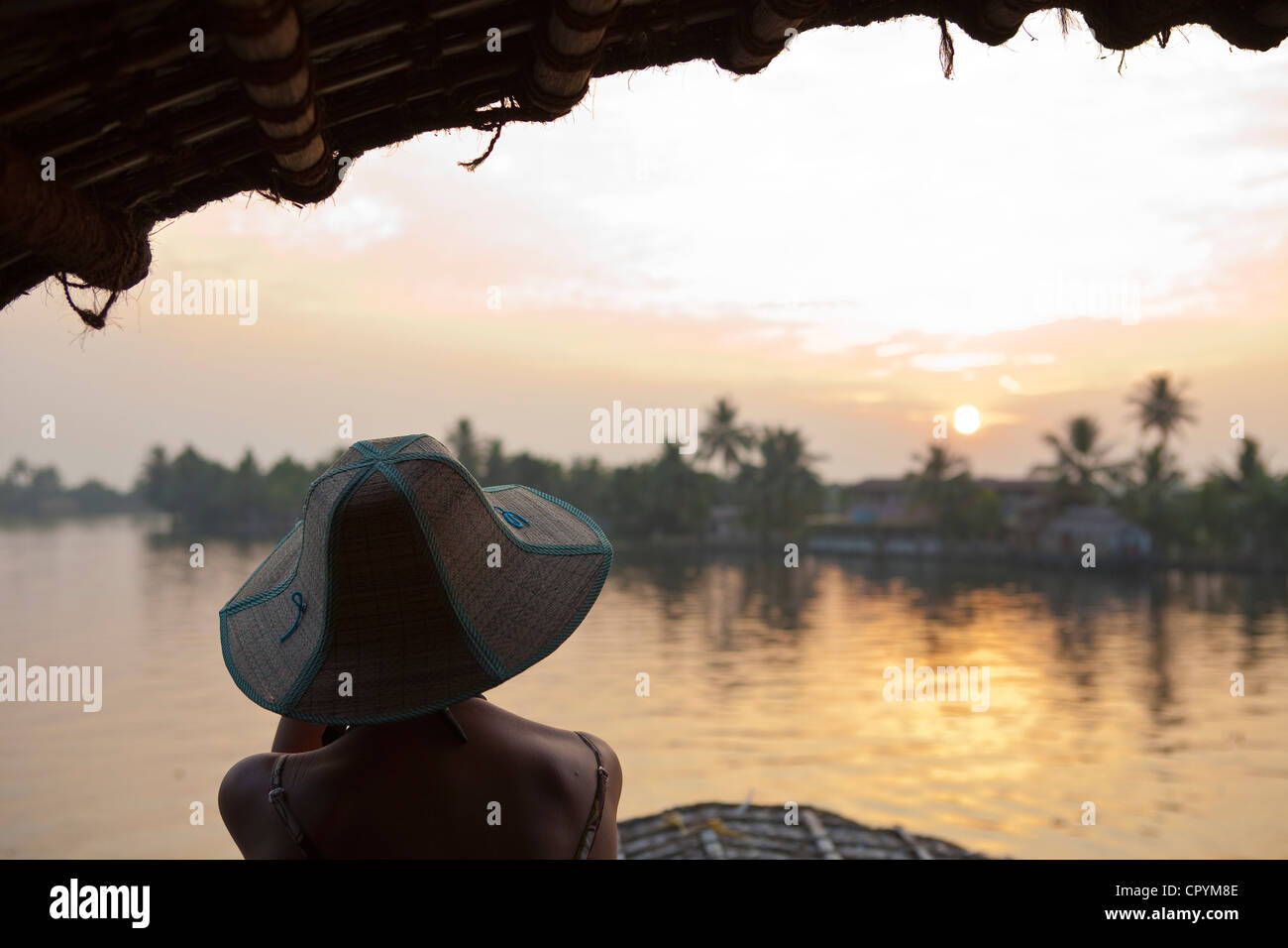India Kerala State Allepey the backwaters houseboats (old transport barge converted for the touristic cruising of - Stock Image