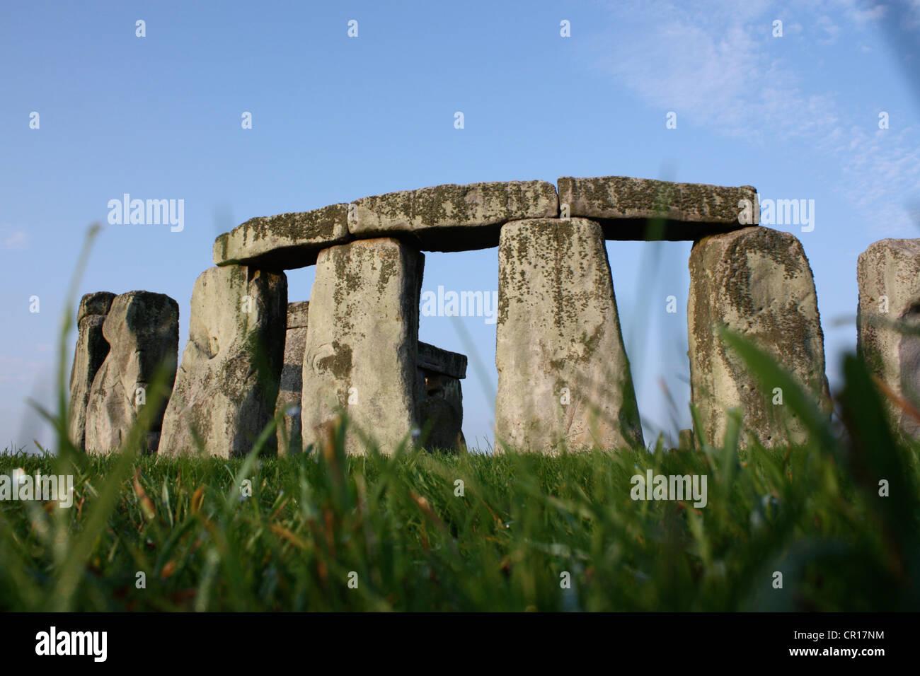 Spring view of the prehistoric landscape Stonehenge - Stock Image