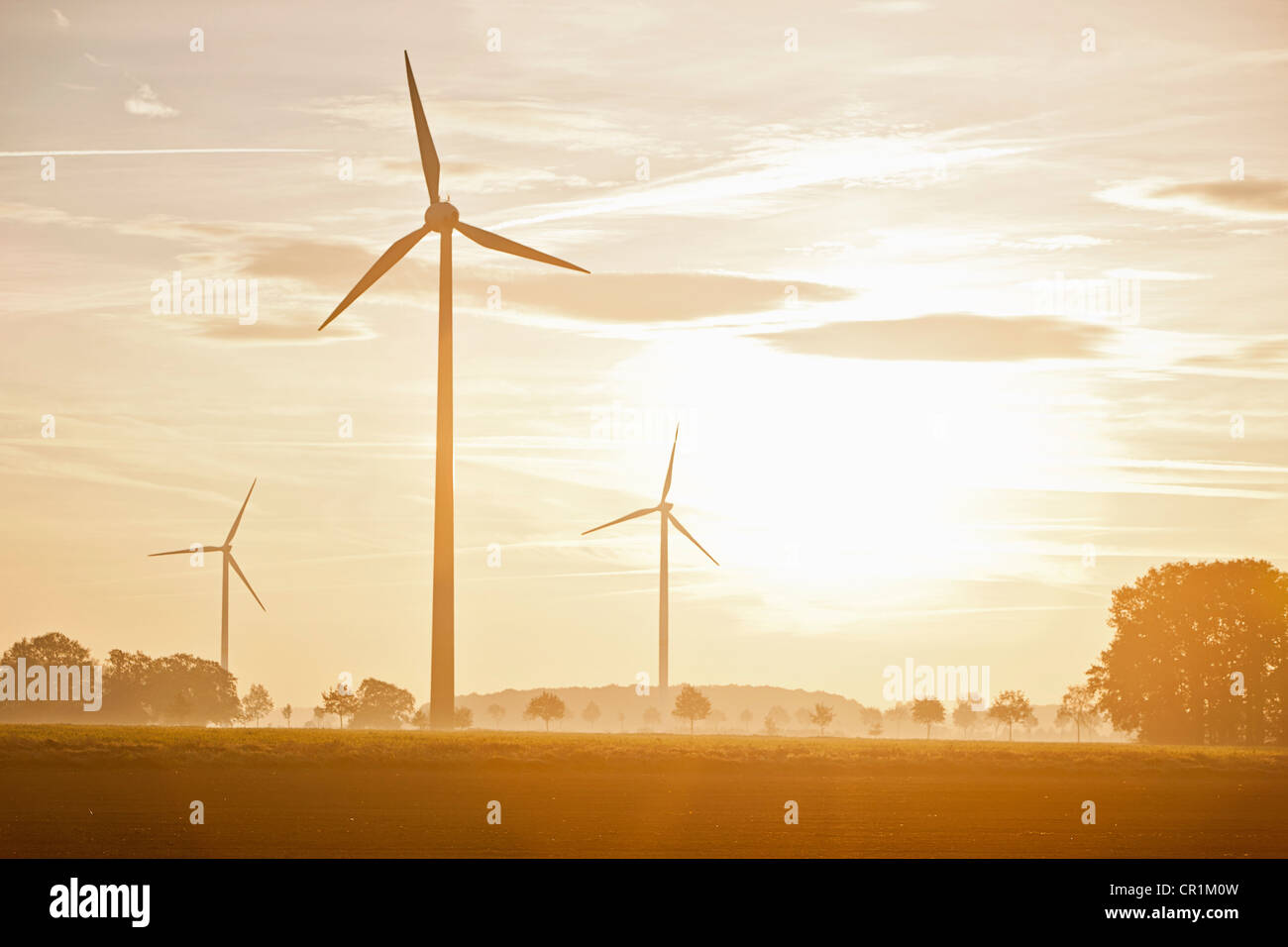 Wind turbines in rural landscape - Stock Image