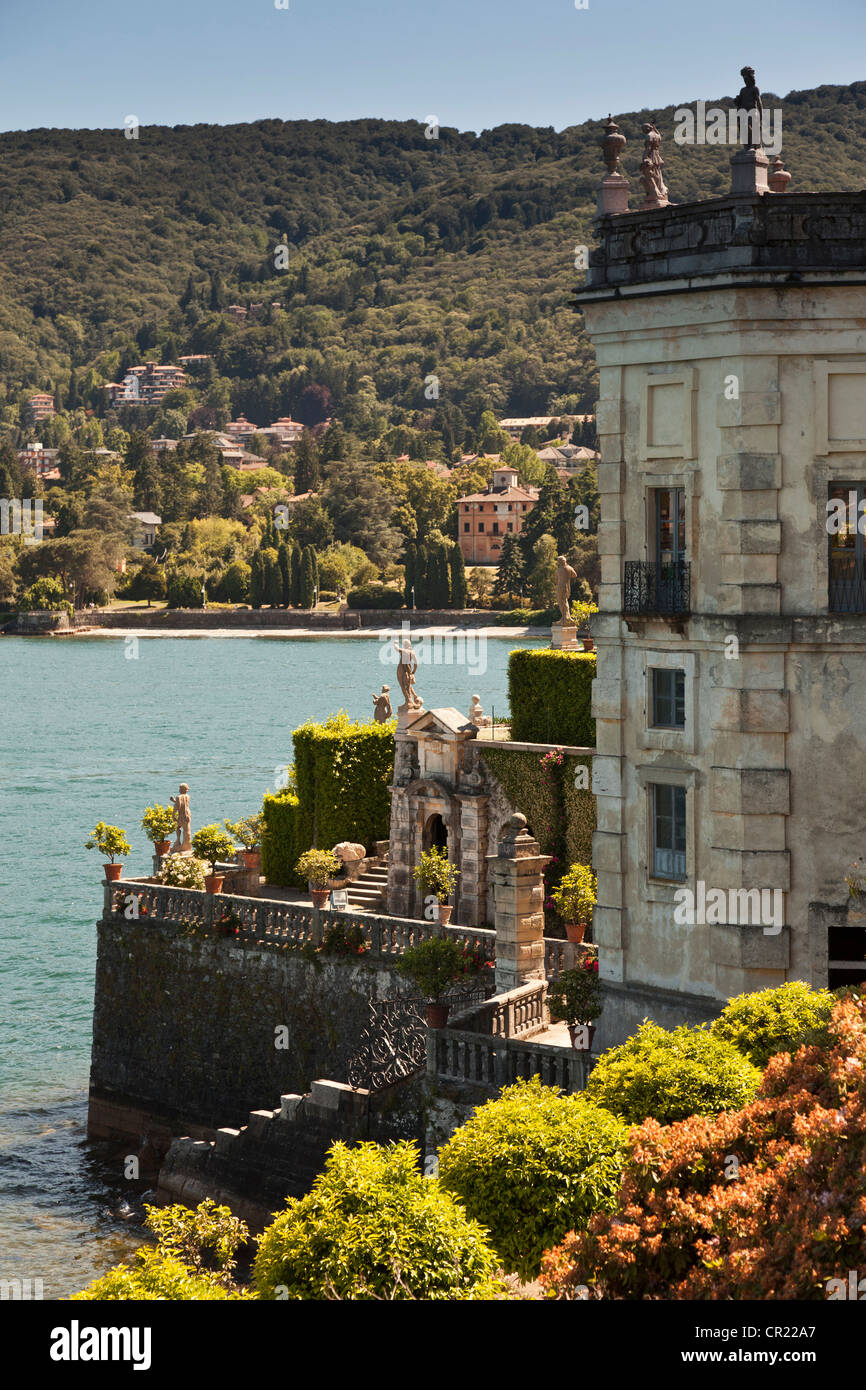 Ornate house built on waterfront - Stock Image