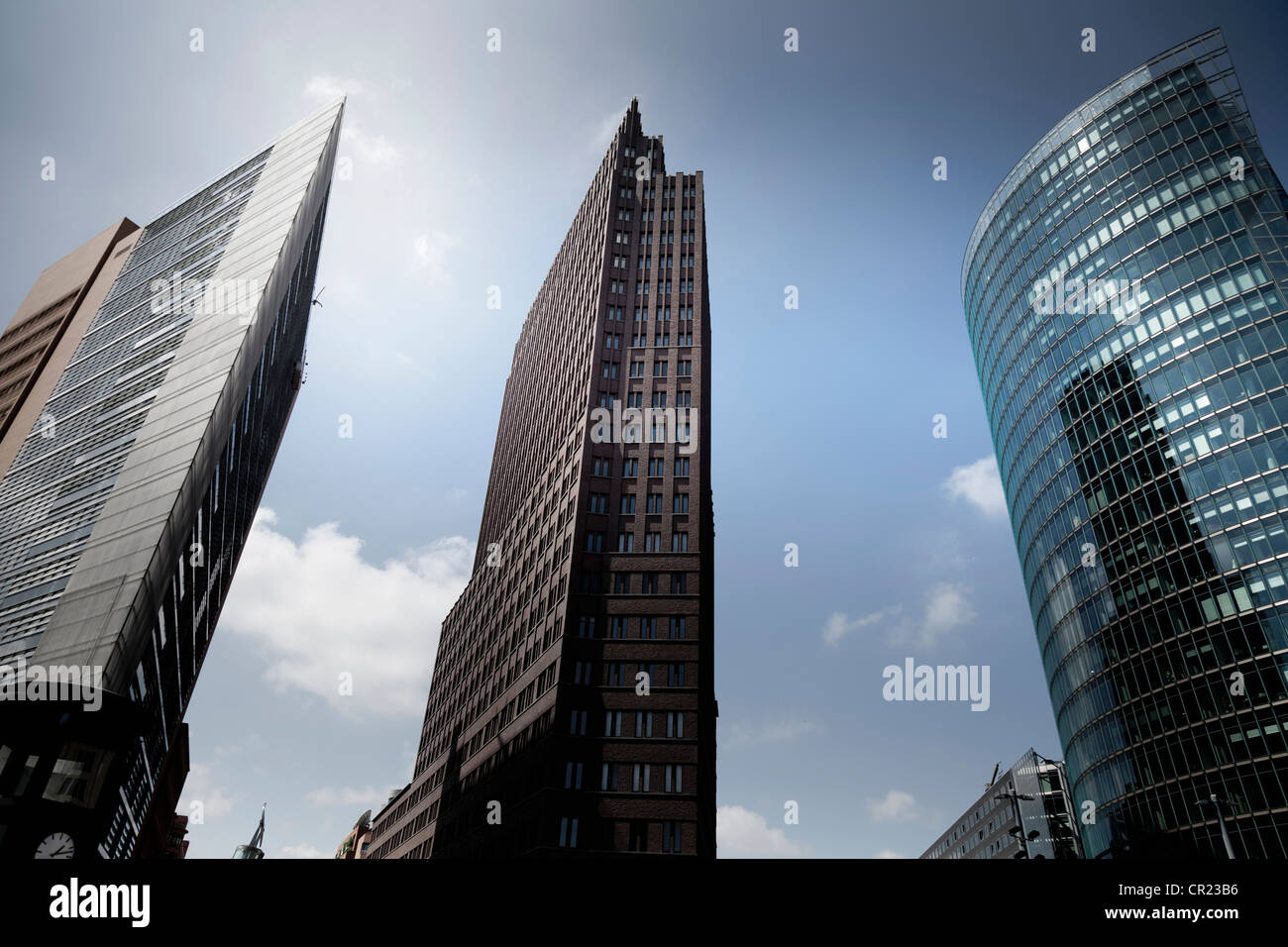 Low angle view of urban skyscrapers - Stock Image