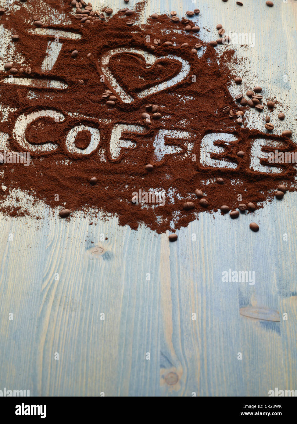 I love coffee written in grounds - Stock Image