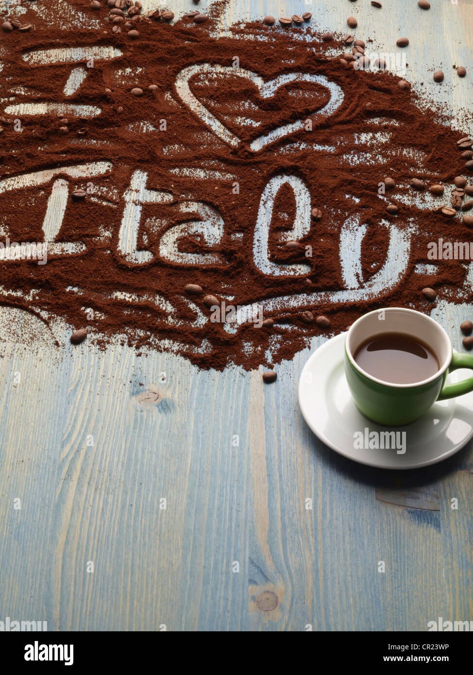I love Italy written in coffee grounds - Stock Image
