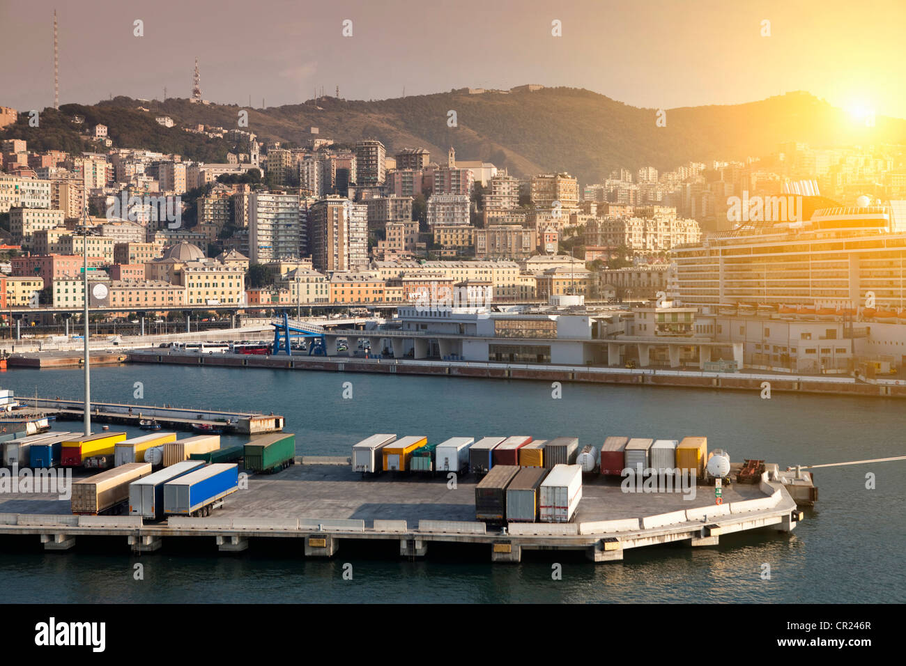 Shipping containers on urban pier - Stock Image