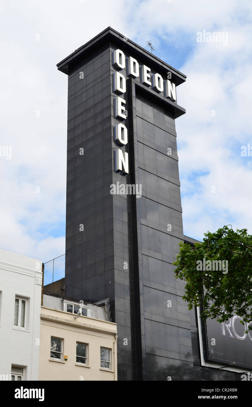 Low angle of Leicester square Odeon Cinema tower - Stock Image