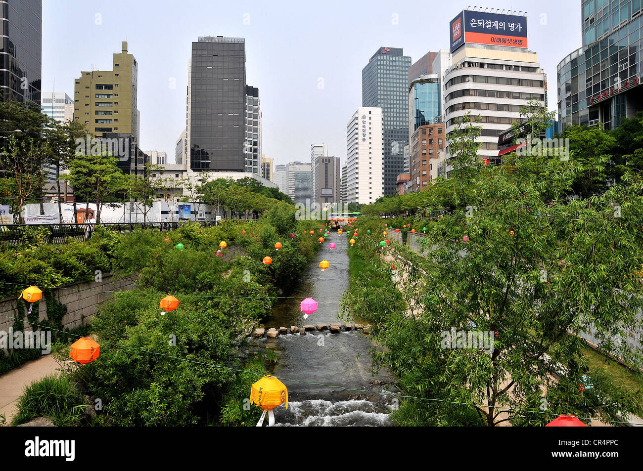 Waterside and greenery of the Cheonggyecheon stream Seoul South Korea - Stock Image