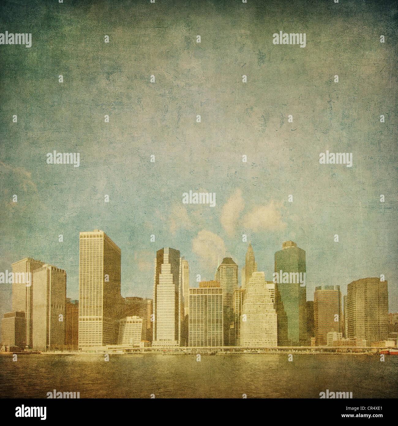 grunge image of new york skyline - Stock Image